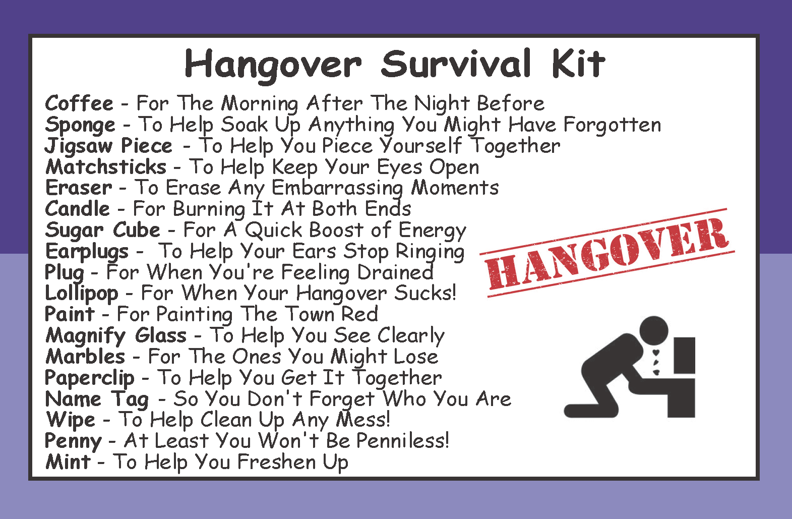 hangover survival kit in a [2] 8235 p